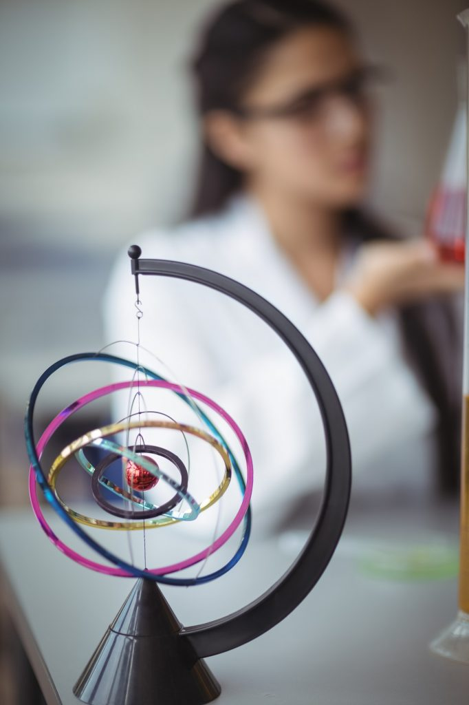 Close-up of orrery in laboratory